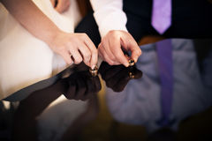 Newlyweds holding wedding rings Royalty Free Stock Photos
