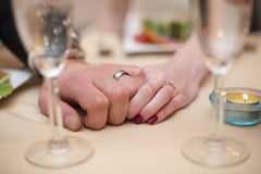 Newlyweds Holiding Hands Royalty Free Stock Photos