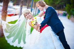 Newlyweds are hugging in the green park Royalty Free Stock Photos