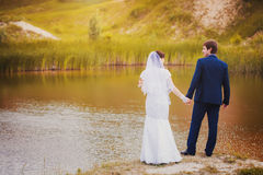 Newlyweds are hugging in the green park Royalty Free Stock Photo