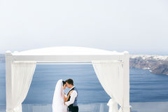 Newlyweds hugging on sea shore Stock Photos