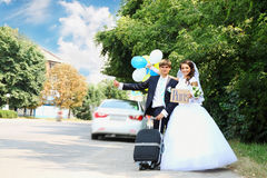 Newlyweds on a journey Royalty Free Stock Image