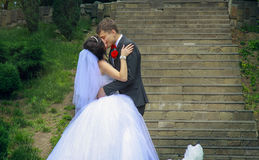 Newlyweds` kiss Stock Photos