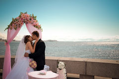 Newlyweds kiss near coastline Royalty Free Stock Photo