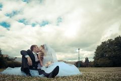 Newlyweds kiss in a park Stock Photography