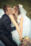 Newlyweds kiss in a park Royalty Free Stock Images