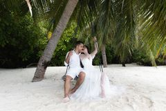 Newlyweds kiss on a swing under a big palm tree. Wedding on a tropical island royalty free stock photos