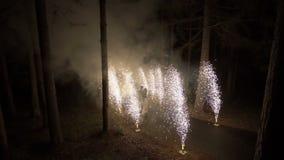 Newlyweds kisses near firework fountains stock video