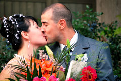 Newlyweds kissing Royalty Free Stock Images