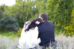 Newlyweds in love sit on a grass Royalty Free Stock Photography