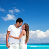 Newlyweds in love on white sandy beach Royalty Free Stock Photography