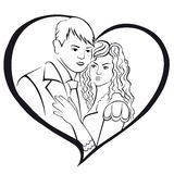 Newlyweds. Lovers in a heart. Stock Photo