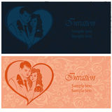 Newlyweds. Lovers in a heart. Wedding invitation. Stock Images