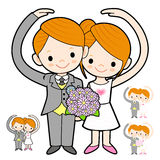 The Newlyweds Mascot love gesture. Marriage and Parenting Charac Royalty Free Stock Photos