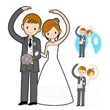 The Newlyweds Mascot love gesture. Marriage and Parenting Charac Stock Images