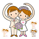 The Newlyweds Mascot love gesture. Marriage and Parenting Charac Stock Photo