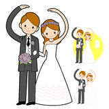 The Newlyweds Mascot love gesture. Marriage and Parenting Charac Stock Photos