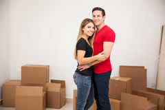 Newlyweds moving into their home Stock Photo