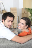 Newlyweds moving in together Stock Image