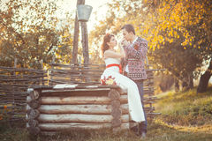 Newlyweds near the wooden well. The groom kisses the bride's hand Stock Photography