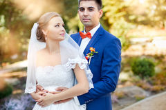 Newlyweds outdoors Royalty Free Stock Photography