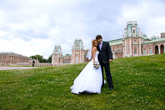 Newlyweds in a park. On the green lawn, overgrown with white flowers, standing next to the newlyweds, but behind them can see the old palace of Tsarina Stock Photo