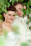 Newlyweds in the park Royalty Free Stock Photography