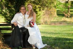 Newlyweds in the park Royalty Free Stock Photos