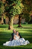 Newlyweds in the park Stock Images