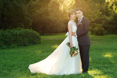 Newlyweds in park Royalty Free Stock Images