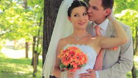 Newlyweds In A Park stock video