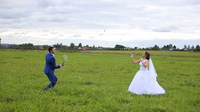 Newlyweds playing badminton on green meadow. Happy young couple,newlyweds playing badminton on green meadow field. Loving wedding couple outdoor. Bride and groom stock video