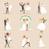 Newlyweds Posing And Dancing On The Wedding Party Set Of Scenes Royalty Free Stock Photos