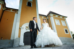Newlyweds posing in front of castle Royalty Free Stock Photography