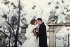 Newlyweds posing in the front of old park gates in the cold weat Stock Photography