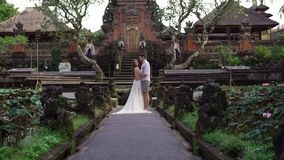 Newlyweds posing near buddhist temple in Bali. Holding hands, hugging. Romantic wedding. Tropical vacation stock video footage