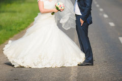 Newlyweds on Road Royalty Free Stock Photos