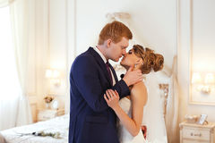 Newlyweds in the room royalty free stock image