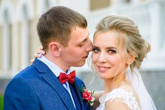 Newlyweds with shallow depth of field stock photos
