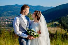 Newlyweds smile and hug each other among the meadow on top of the mountain. Wedding walk in the woods in the mountains, the gentle. Emotions of the couple royalty free stock photo