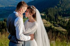 Newlyweds smile and hug each other among the meadow on top of the mountain. Wedding walk in the woods in the mountains, the gentle. Emotions of the couple stock images