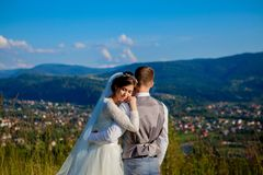 Newlyweds smile and hug each other among the meadow on top of the mountain. Wedding walk in the woods in the mountains, the gentle. Emotions of the couple stock photo