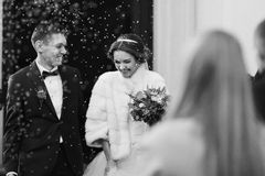 Newlyweds smile under the rain of rice Royalty Free Stock Photo