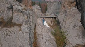 Newlyweds stand on a high slope of the mountain. Groom and bride. Arial view stock footage