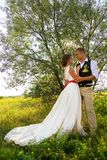 Newlyweds stand in the sun, in a park near a tree. wedding in nature. Beautiful newlyweds stand in the sun, in a park near a tree. wedding in nature Stock Images