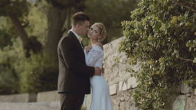 The newlyweds standing near a stone wall in the stock video