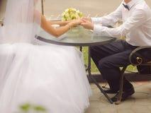 Newlyweds at Street Cafe Royalty Free Stock Image