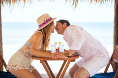 Newlyweds about to kiss at the beach Royalty Free Stock Photo