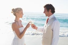 Newlyweds toasting with champagne Stock Image