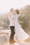 Newlyweds touch each other with noses on cityscape background Royalty Free Stock Image